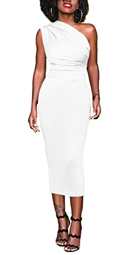 Bluewolfsea Women Bodycon Party Dress One Shoulder Elegant Cocktail Evening Pencil Formal Dress White (White Cocktail)