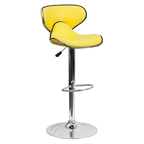 Cozy Contemporary Adjustable Barstool with Chrome Base and Footrest, Curved Mid-Back Height, Easy to Clean Vinyl Upholstery, Swivel Seat, Yellow + Expert Home Guide by Love (Yellow Vinyl Seat)