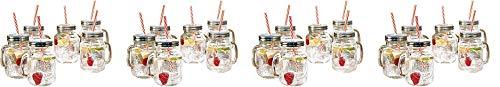 Estilo Mason Jar Mugs with Handle and Straws Old Fashioned Drinking Glass Set 6, 16 oz Each (4-Pack)