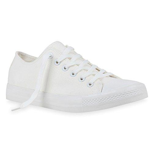 Herren Sneakers Freizeitschuhe Sportschuhe Schnürer Stoffschuhe Fitness Streetstyle viele Farben Flandell Weiss Weiss