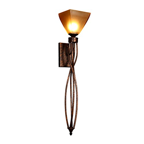 American Retro Long Wall Lamp, Champagne Thickened Glass Living Room Aisle Wall Lamp, Single Head Iron Wall Lamp