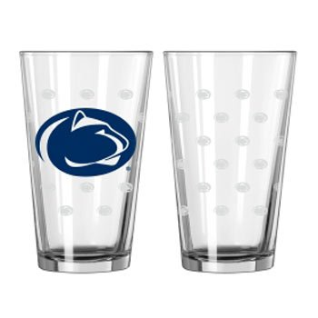 Boelter Brands NCAA Penn State Nittany Lions Pint GlassSatin Etch 2 Pack, Clear, One - State Penn Glass Lions Nittany