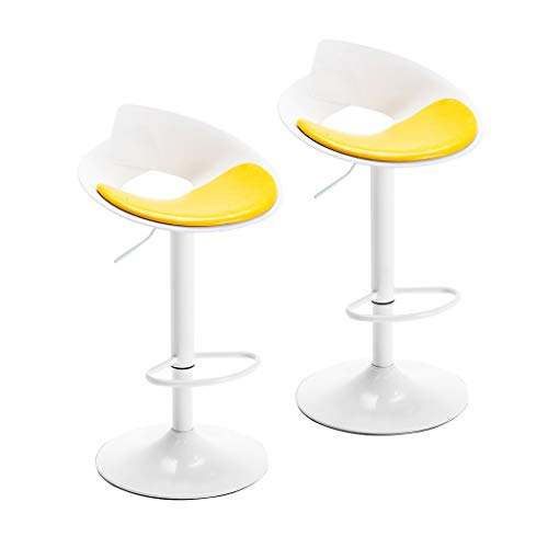 CYLQ Rotate Bar Stools, Set of 2 Kitchen Breakfast Bar Chair, Adjustable Lifting PU Leather Chair Chrome-Plated Footrest Counter Height, 4 Colors 57-77cm (Color : Yellow)