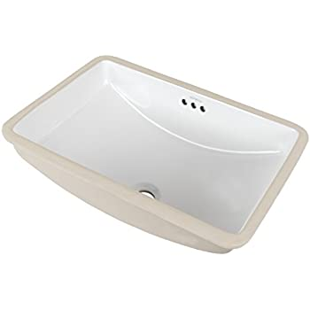 RONBOW Restyle 18 Inch Rectangle Undermount Ceramic Bathroom Vanity Vessel  Sink In White 200532 WH