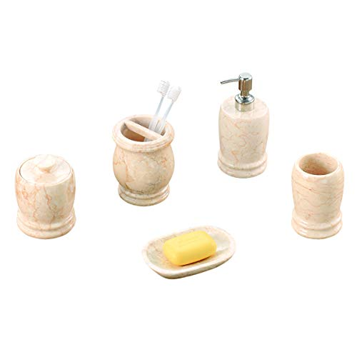 Creative Home Natural Champagne Marble Double Ring Collection Set of 5 pcs Bathroom ()