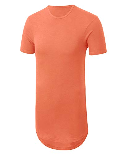 JD Apparel Mens Basic Hipster Longline Drop Tail T-Shirts X Large Dusty Rose
