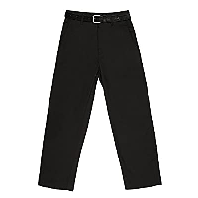 Vittorino Boy's Tailored Fit Flat Front Dress Pants With Detachable Belt