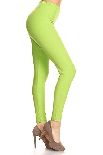 LDR128-Lime Basic Solid Leggings, One Size -