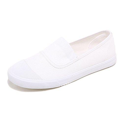 Minetom Casual Zapatillas Canvas Lona de Mujer Moda Chicas Punta Redonda Tacón Plano Espadrilles Ocio Zapatos Mocasín Blanco