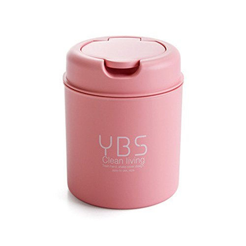 Office Kitchen Desk Mini Trash Can Small Plastic Garbage Can Food Waste Bin Pen Storage Recycle Box with Lid Bag Holder Organizer Purple Round Gathering Disposal Container Intake Cover Set (Pink) (Vessel Bag)