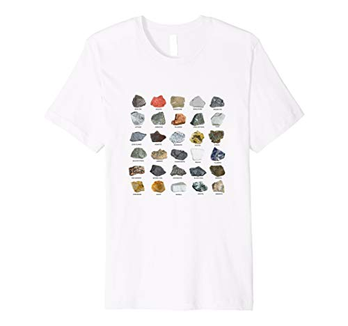 Gems Crystals Ores & Minerals Chart Rock Collecting T-Shirt ()