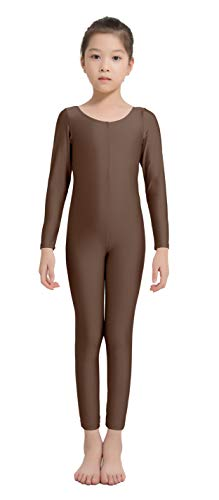 Speerise Girls Kids Long Sleeve Spandex One Piece Dance Unitard, Brown, 8-10]()