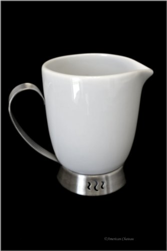 - 6oz White Porcelain & Stainless Steel Creamer/Gravy Sauce Server