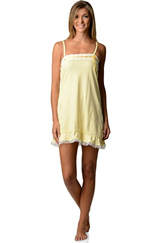 (Casual Nights Women's Jersey Lace Trim Chemise Nightie - Lemon - Large)