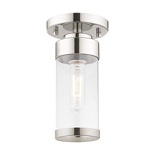 Livex Lighting 40480-05 Hillcrest - One Light Flush Mount, Polished Chrome Finish with Clear Glass