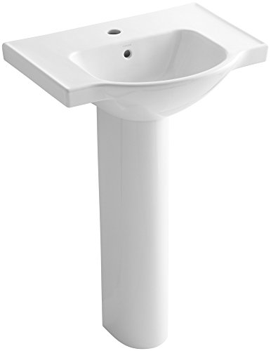 KOHLER K-5266-1-0 Veer Pedestal Bathroom Sink with Single Faucet Hole, 24-Inch, White - Faucet Holes Pedestal