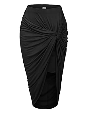 RubyK Womens Asymmetrical Draped Wrap Cut Out Hi Low Midi Skirt