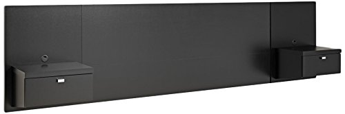 Prepac BHHQ-0520-2K Series 9 Designer Floating Headboard with Nightstands, Queen, Black