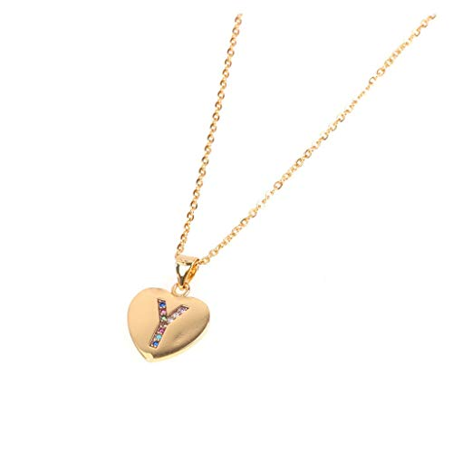 Women Necklace Stainless Steel Peach Heart Letter Necklace 26 Letters Love Clavicle Neck Chain from Sinzelimin