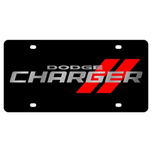 Eurosport Daytona License Plate for Dodge Charger Black Laser Acrylic - 2473N-1