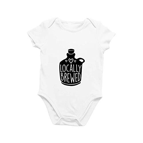 Onesie Organic Baby One Piece Locally Brewed Short Sleeve Trendy Cute Funny Minimal Bodysuit 0-12 Months (3-6 Months) White (Best Nicu In America)