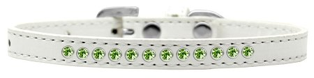 Mirage Pet Products Lime Green Crystal White Puppy Dog Collar, Size 14 by Mirage Pet Products