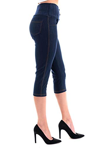 Women's High Waist Stretch Skinny Denim Capri Jeggings with Pockets Reg-Plus Size (Large, Capri-Navy)