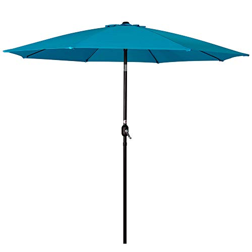 Sundale Outdoor 9 Feet Aluminum Market Umbrella Table Umbrella with Crank and Push Button Tilt for Patio, Garden, Deck, Backyard, Pool, 8 Fiberglass Ribs, 100% Polyester Canopy (Lake Blue) ()