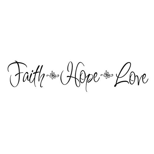 Creatiee Faith Hope Love Quote Wall Decal Sticker, Removable DIY Vinyl Bible Verses Wall Decor Art Mural for Home Living Room Bedroom - Inspirational & Home Warming Gift