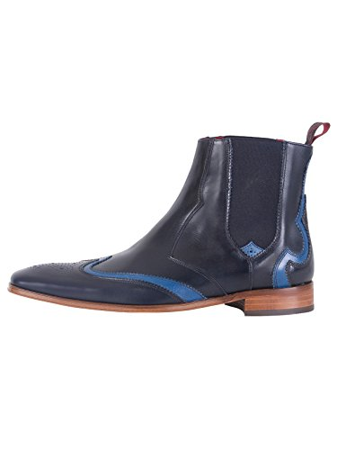 pelle Uomo West in Blu Jeffery Stivali Jeffery Blu lucida West YawxHO