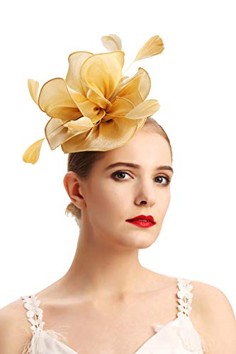 Czioe Flower Cocktail Tea Party Headwear Feather Fascinators Top Hat for Girls and Women(2-gold)