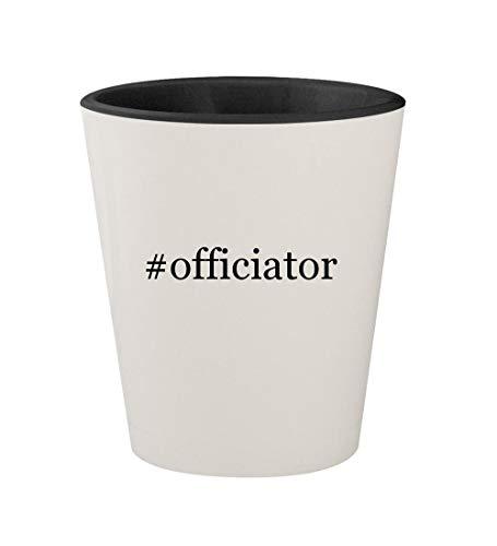 #officiator - Ceramic Hashtag White Outer & Black Inner 1.5oz Shot Glass