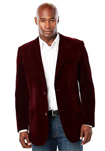 KingSize Men's Big & Tall Velvet Blazer, Burgundy Tall-54