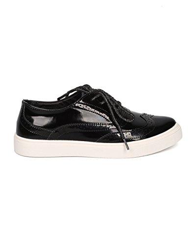 Sneaker Oxford Da Donna: Sneaker Casual, Versatile, Classica - Spettatore - Gh35 Black