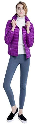 Chic Manica Coat Lunga Qualità Laterali Violett Con Corto Mantello Tasche Donna Fashion Cerniera Cappotto Hx Piumino Monocromo Ragazza Caldo Invernali Alta Leggero Cappuccio Di zq1p68x