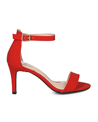 Alrisco Women Nubuck Open Toe Single Band Ankle Strap Stiletto Sandal - HG58 by Qupid Collection Red vvP21DGO7