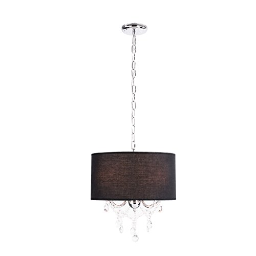 LightInTheBox 60W Modern Crystal Beaded Pendant Light with 3 Lights and Black Drum Shade Ceiling Light Fixture Chandeliers