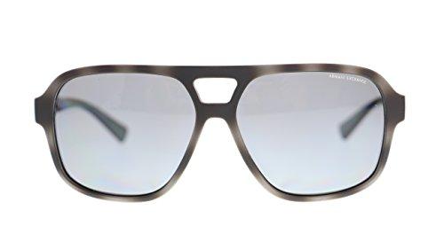Armani Exchange AX4061 822081 Grey Havana/Polar Grey Polarized Square Men's Sunglasses 59mm - Gold Armani Sunglasses