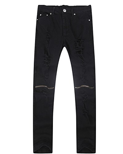 Lende Men Ripped Skinny Distressed Destroyed Straight Fit Zipper Jeans with Hole