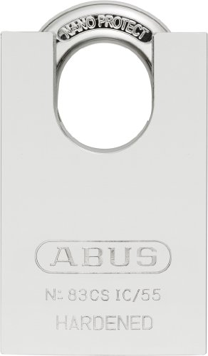 - ABUS 83CS-IC/55 S2 SFIC Small Format Interchangeable Core Solid Steel Chrome Plated Rekeyable Padlock w/o core with 1.5 Inch Closed Shackle