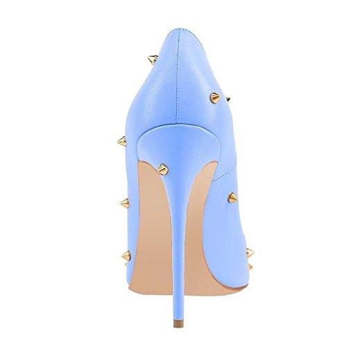 Toe AIWEIYi Matte Stud Slip Rivet Pointed High Dress Heels On Stilletto Womens Shoes 12cm Pump Blue YwYqHrF