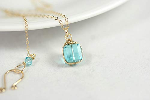 Gold Aqua Necklace Light Turquoise Swarovski Crystal Pendant Wire Wrapped Yellow or Rose Gold Filled