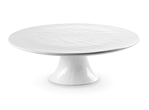ROSCHER Faux Woodgrain Cake Stand (12.5 Inch) Classic White Porcelain | Decorating, Serving, and Display | Single Tier | Happy Birthday, Wedding, Bundt, Cheesecake