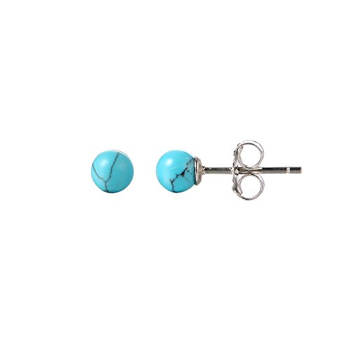 Sterling Silver 925 Blue Turquoise Imitation Stud Ball Round Earrings (Turquoise Round Earring)