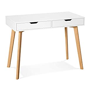 Homfa Computer Desk Study Writing Table with Drawers Laptop Desk Dressing Table Home Office White Table 100x50x77cm