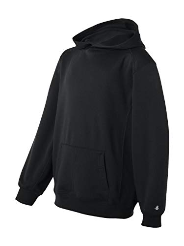 (Badger - Youth Performance Fleece Hooded Sweatshirt - 2454 - L - Black )