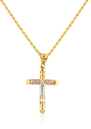 10K Yellow Gold Small Jesus Crucifix Cross Pendant with 2mm 24'' Rope Necklace (GO-1761 + GO-1252) by JOTW