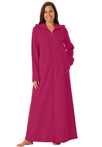 Dreams & Co. Women's Plus Size Hooded Fleece Robe Cherry Red,L