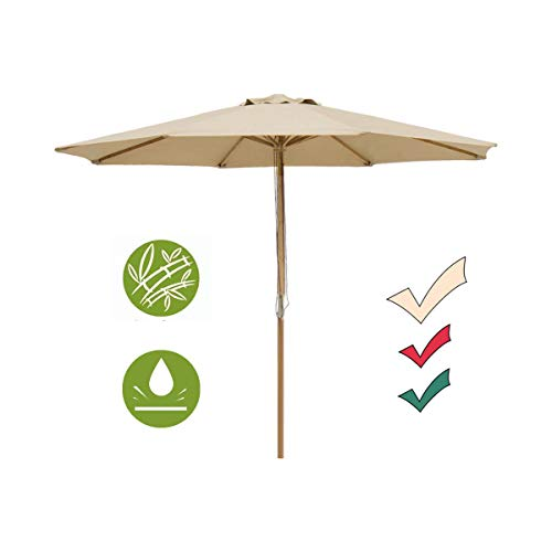 - SUNNYARD 9 Ft Wood Patio Umbrella Bamboo Market Umbrella Outdoor Table Umbrella with Pulley Lift, 8 Ribs,Taupe