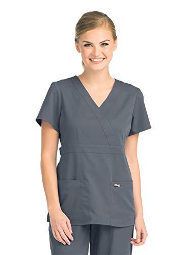 Grey's Anatomy 4153 Women's Mock Wrap Top Granite - Mock Wrap